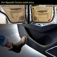 4pcs new interior carbon fiber doors side edge anti kick protection pad sticker for hyundai tucson 2006 2014