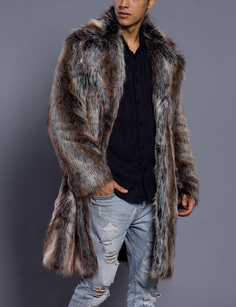 Los hombres de piel de Abrigo de invierno de piel sintética de...