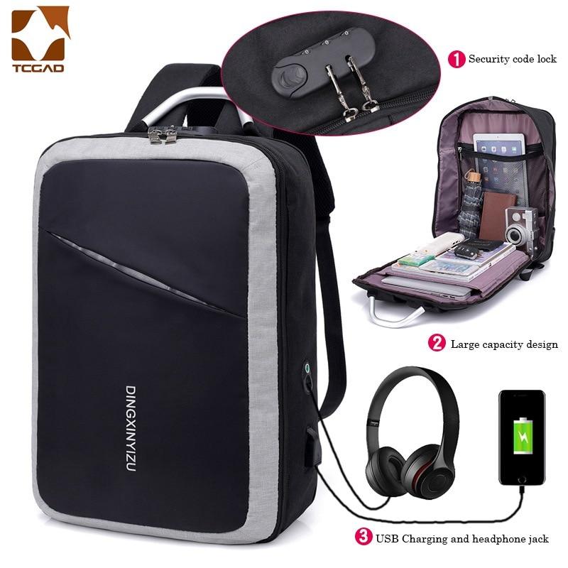 Mochila de Negocios, bolsa segura para ordenador portátil, mochila grande unisex con USB, bolsa de seguridad para teléfono móvil