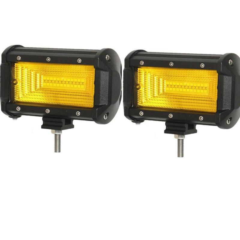1 ud. Luz LED de trabajo amarilla de 72W para coche, motocicleta, SUV, ATV, iluminación Offroad