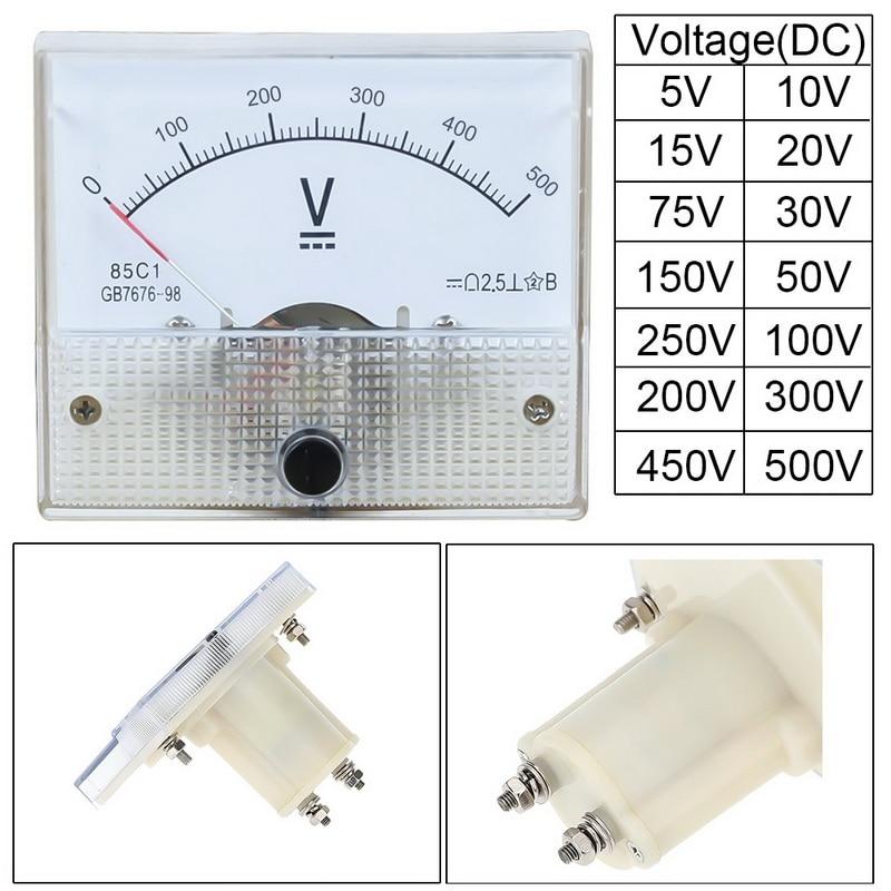 Kunststoff Analogen Zeiger Volmeter Spannung Meter Panel 5V 10V 15V 20V 30V 50V 75V 100V 200V 300V 500V Mechanische Gauge HighAccuracy