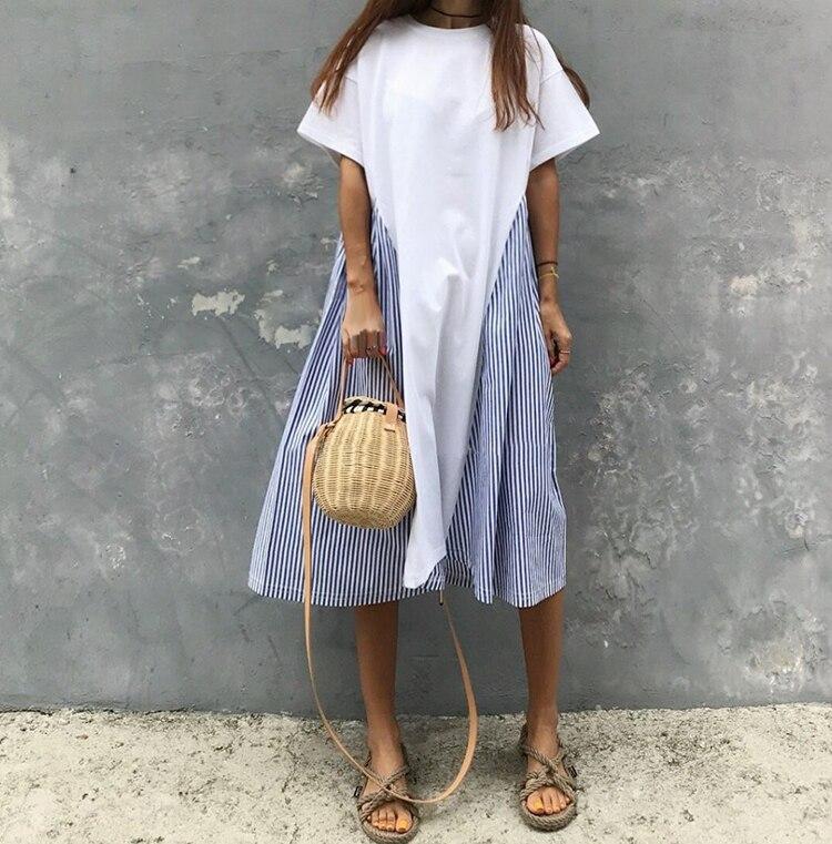 2019 verão algodão casual vestido novo coreano costurado listrado solto vestido de manga curta retalhos a-line o-neck vestido