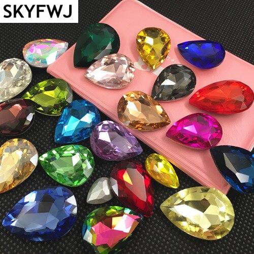 Queda de pêra de Cristal Extravagante Stone Point Voltar Teardrop/Rhinstone gota De Vidro Para Fazer O vestido, DIY Acessório