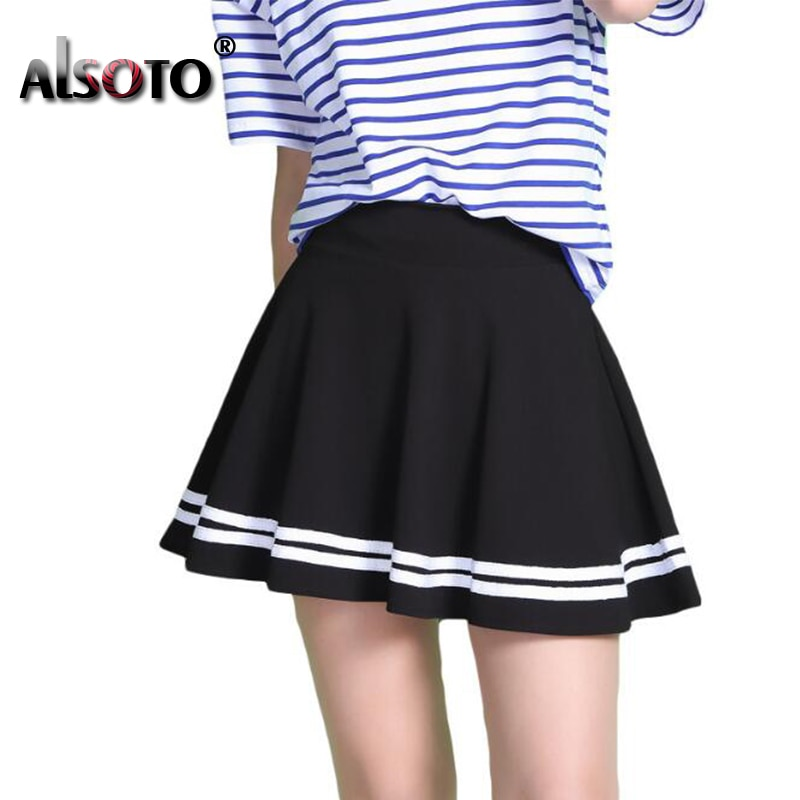 Fashion Summer Style Women Skirt Solid Color Sexy High Waist Midi Pleated Skirts Black School Korean Version Mini A-line Saia