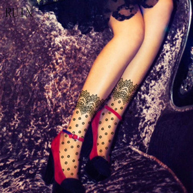 RUIN Lace decorative pattern dot print design short stockings summer thin basic pantyhose female girl women stockings