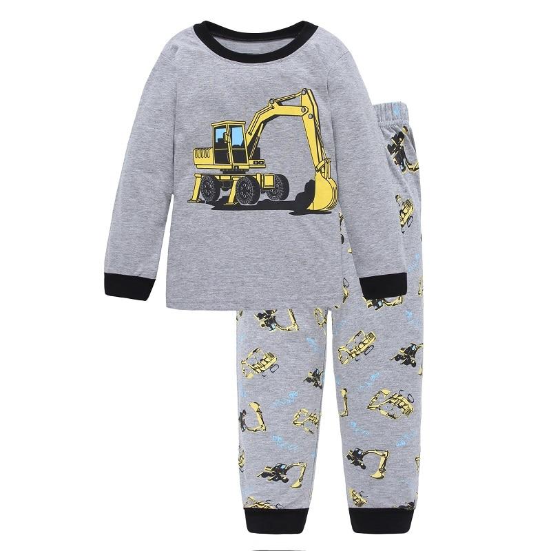 Excavator Children Pajamas Sets Kids Sleepwear suit Sleeved T-Shirts Trousers Boy clothes Pj's Infant pijama Fashion Tops Pant