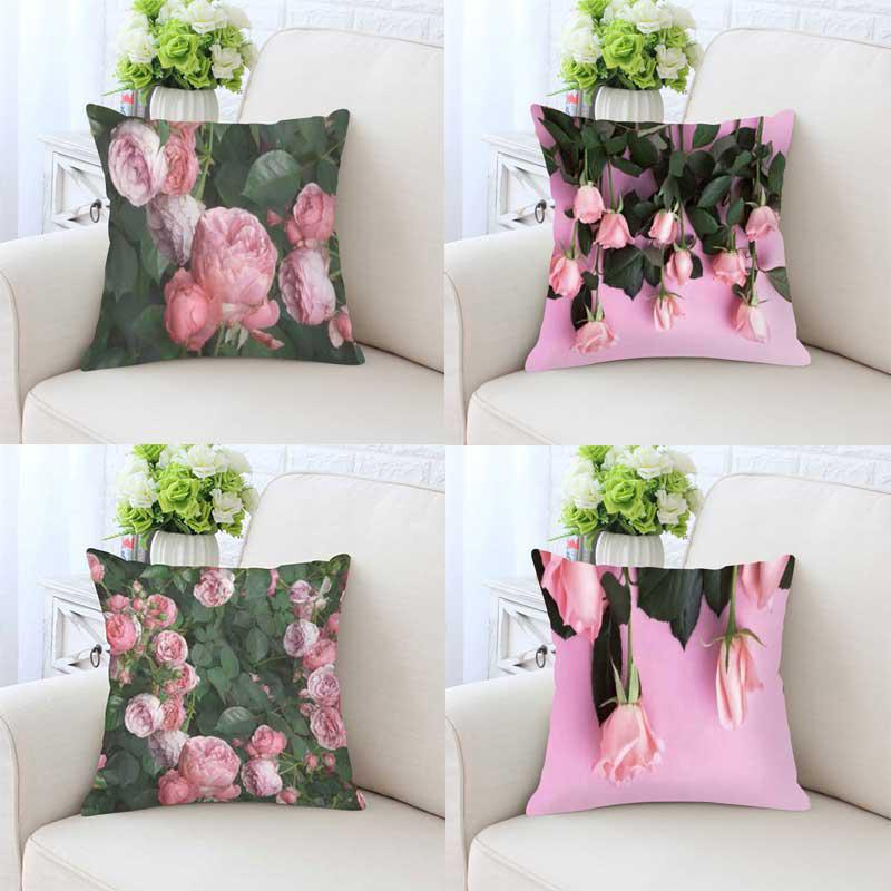 Pequeño cojín de flores rosas frescas para jardín, pétalos de rosa, ramo de hojas verdes, almohada de felpa romántica de Londres e Inglaterra para decoración del hogar