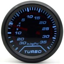 "2"" 52MM Universal Mechanical Turbo Boost Car Gauge 35 PSI Meter Auto White LED Black Bezel"