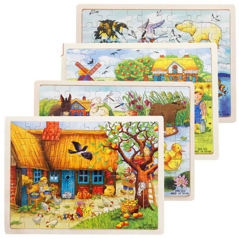 أحجية الصور المقطوعة الخشبية ثلاثية الأبعاد للأطفال ، 60 قطعة ، ألعاب كرتونية ، 8 أنماط ، لعبة تعليمية