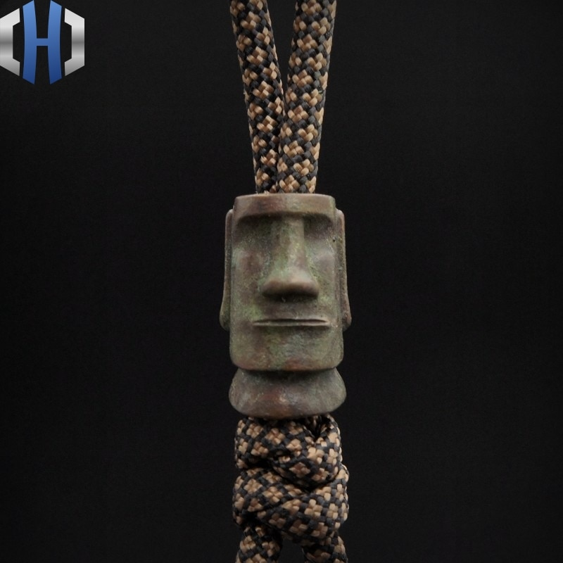 Original Easter Island Stone Portrait EDC Pendant Rope Knife Falling Flashlight Manual DIY Pendant Knife Beads