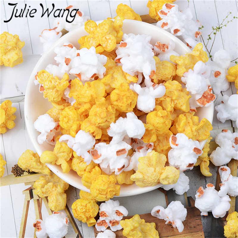 Colgantes de palomitas de maíz artificiales de resina Julie Wang, 10 Uds., accesorios de decoración para mesa, joyería