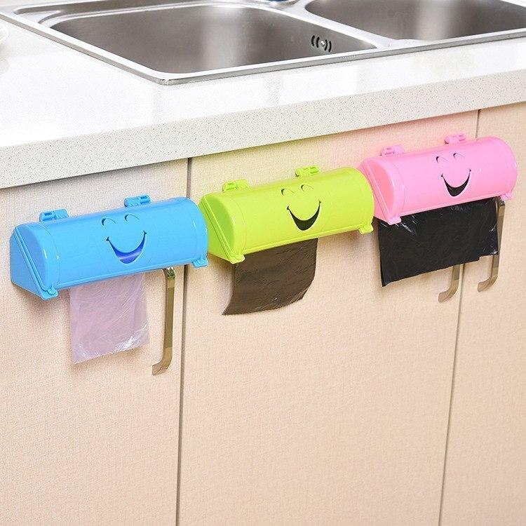 Hifuar Simle forma bolsa de basura caja de almacenamiento montado en la pared plástico bolsas de basura almacenamiento contenedor cocina baño organizador A