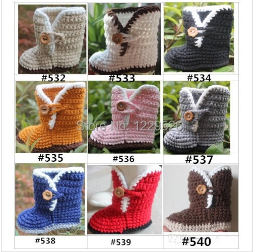 Crochet baby booties first walker shoes flower wooden button cotton  0-12M size