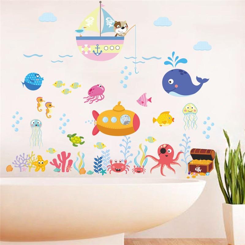 Barco submarino pato pez tiburón burbuja tortuga pegatinas de pared para habitaciones de niños cuarto de baño dormitorio calcomanías de paredes de cocina póster mural