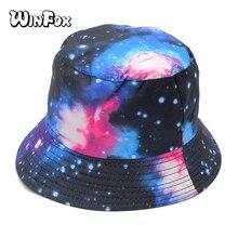 Winfox 패션 여름 unisex 갤럭시 사냥 낚시 모자 양동이 모자 여자 망