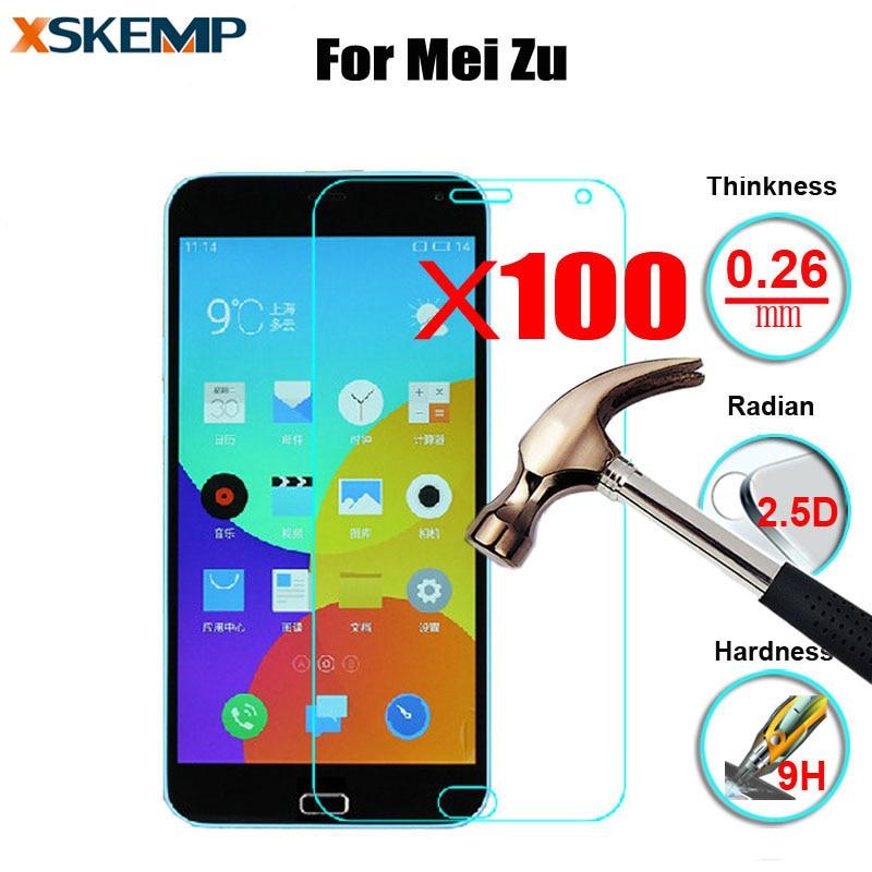 100 piezas Premium 9 H Protector de pantalla de vidrio templado para Meizu MX6 Pro 6 Meilan E 3 U20 U10 nota película protectora 5 Metal 2 HD