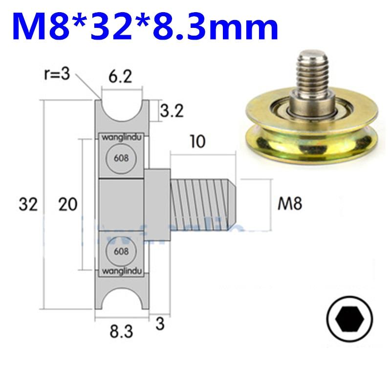 Rueda de suspensión con guía de cable M8 * 32*8,3mm 8*32*8,3mm a prueba de óxido de metal, tipo U, rodillo de polea de rodamiento 608zz