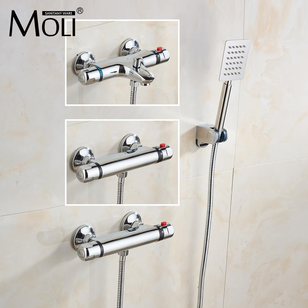 خلاط دش ثرموستاتي كروم مثبت على الحائط صنبور ثرموستاتي حنفية دش صنابير أوتوماتيكية للتحكم في درجة الحرارة صمام مياه ML0855