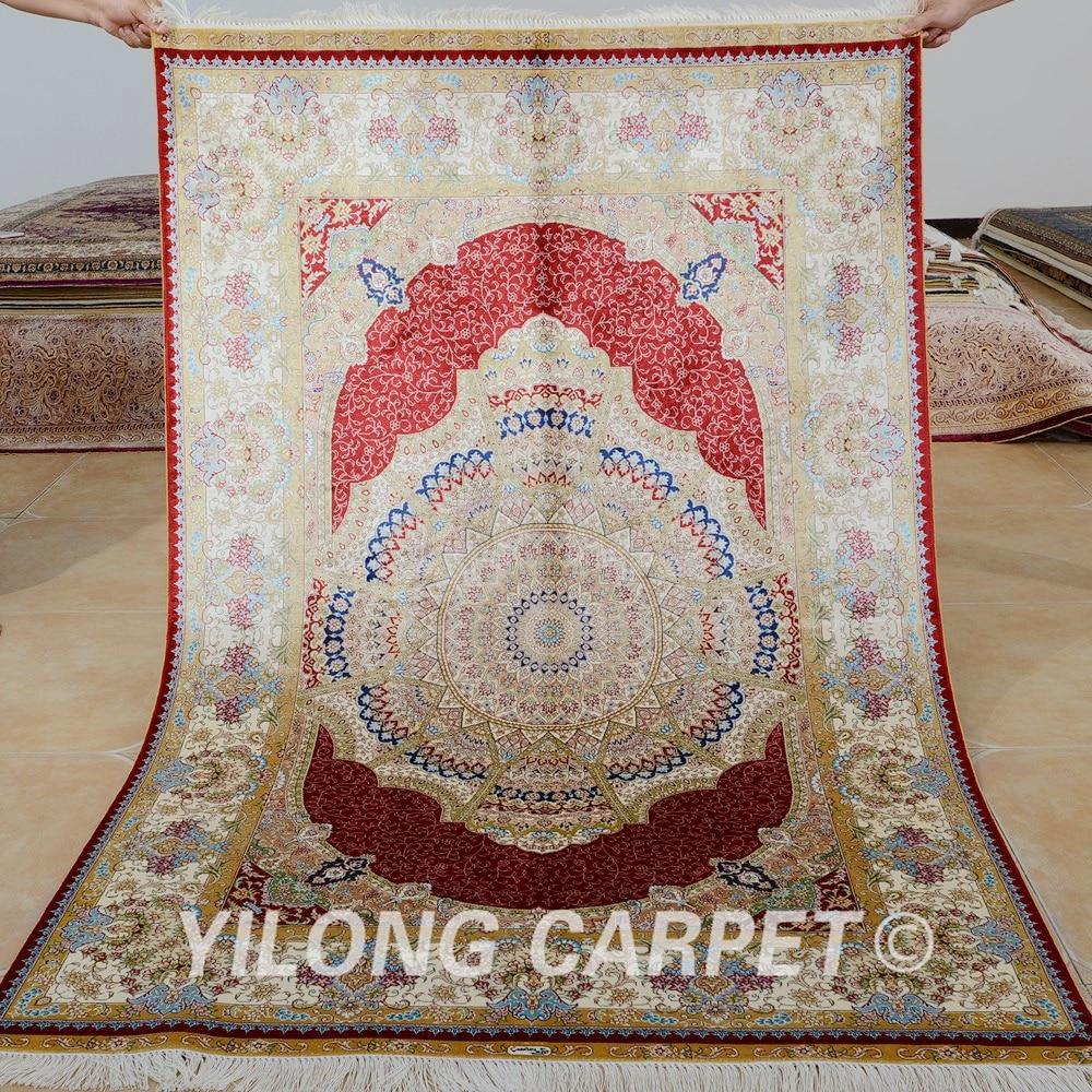 Yilong-سجادة هندية من الحرير ، 4 × 6 بوصات ، ميدالية حمراء ، فارسية ، بيع بالجملة (0104)