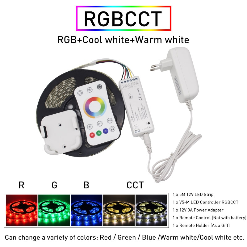 5m 5050 SMD RGB CCT LED Strip Lights Waterproof 60Leds/m Flexible Light DC 12V Warm White 2.4G Wireless Synchronously Control