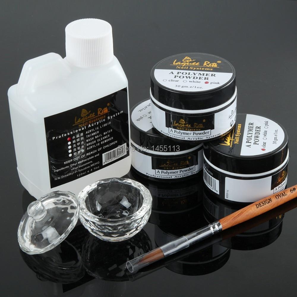 Free Shipping Pro Acrylic Nail Kit 6pcs/Lot Nail Tools Acrylic Liquid 120 ml Powder Pen Deppen Dish Nail Art Set Design Kit