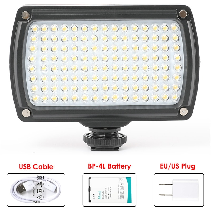 Universal 120 led lâmpada de vídeo XH-120 photo studio luz hotshoe iluminação pode ser escurecido com bateria & carregador usb para canon nikon dslr