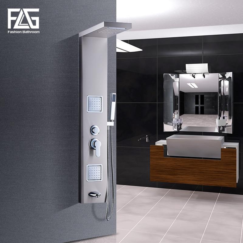 Душевая панель FLG 304SUS для ванной комнаты, матовая никелевая душевая колонка, ручная душевая настенная панель с массажем тела