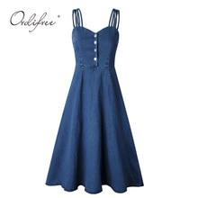 Ordifree 2019 Summer Elegant Women Denim Dress Sundress Vintage Blue Long A Line Dress Female Jeans Dress
