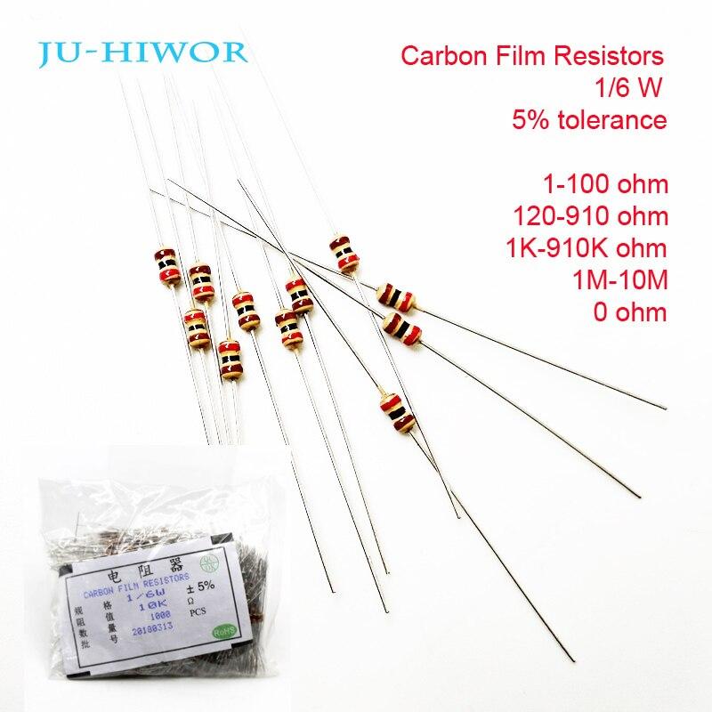1000 Uds Diy resistores de película de carbono 1/6 W 5% 1-100-120-910 1 K-910 K 1 M-10 M 0 Ohm 100, 200, 300, 1K 2K 3K de 1M 2M 10M resistencia