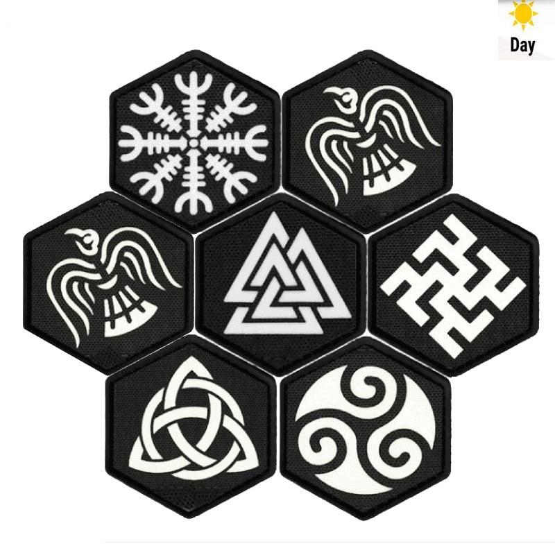 Vikingo brújula Vegvisir Parche táctico runa Noruega Aegishjalmr parche luminoso pagano vikingo Metal paganismo vikingo moral insignia