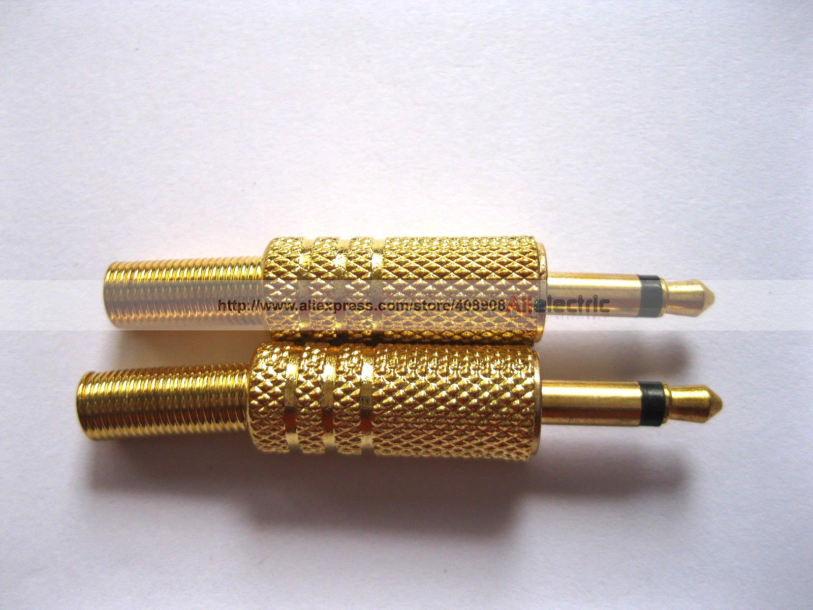 30 قطعة 3.5 مللي متر قابس صوتي أحادي مطلي بالذهب مع زنبرك
