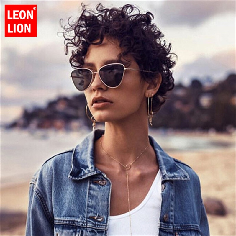 Liga olho de gato pequeno quadro óculos de sol mulher oceano lente óculos de sol vintage metal quadro oculos feminino rua beat lentes