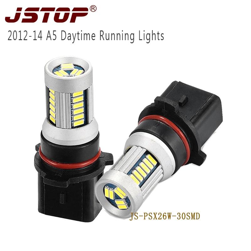 Jstop a5 2013-2014 luzes diurnas led drl lâmpadas 4014smd lâmpadas externas do carro psx26w canbus 6000k 12vac daylighting