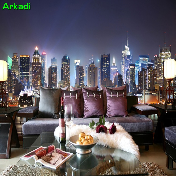 Foto personalizada, paisaje europeo de Inglaterra, arquitectura, Nueva York, Manhattan, paisaje nocturno, Mural, sala de estar, dormitorio, sofá, Oficina