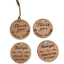 Étiquettes de remerciement personnalisées 100 pièces   Étiquettes rondes en bois gravées en cercle, décoration pour spectacle de mariée + jute