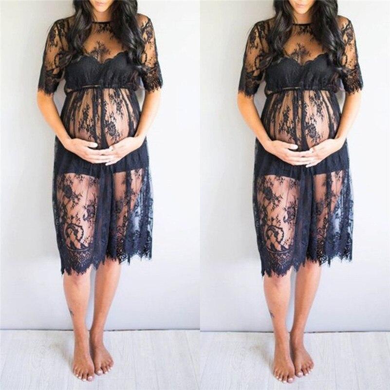 Vestido de premamá de manga corta de encaje para mujer, vestido de fantasía, ropa de embarazo, ropa de mujer para embarazadas