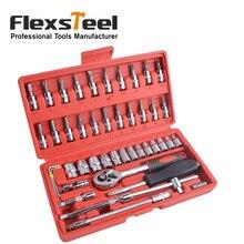 "Flexsteel 46 Stuk CR-V Socket Set Met 1/4 ""Drive Ratelsleutel"