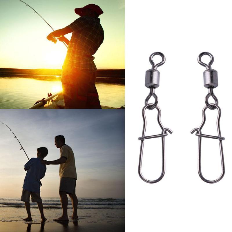 100 unids/lote n. ° 6 eslabones giratorios de pesca de acero giratorios con buen broche para accesorios de aparejos Fiahing Z60