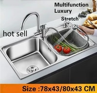 free shipping apartment multifunction do the dishes kitchen double groove sink 304 stainless steel big hot sell 78x4380x43 cm
