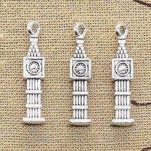12 sztuk Charms Big Ben 3D zegar 27x5x5mm antyczny brąz srebrny kolor zawieszki dokonywanie DIY Handmade tybetański brąz biżuteria