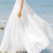 Sherhure 2019 High Waist Women Chiffon Long Skirts Floor Length Ruffles White Summer Boho Maxi Skirt Saia Longa Faldas