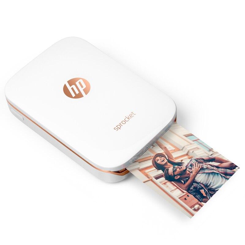 Mini bolso impressora de fotos do telefone móvel bluetooth impressora portátil mini casa roda dentada para hp zink foto papel impressão sem tinta