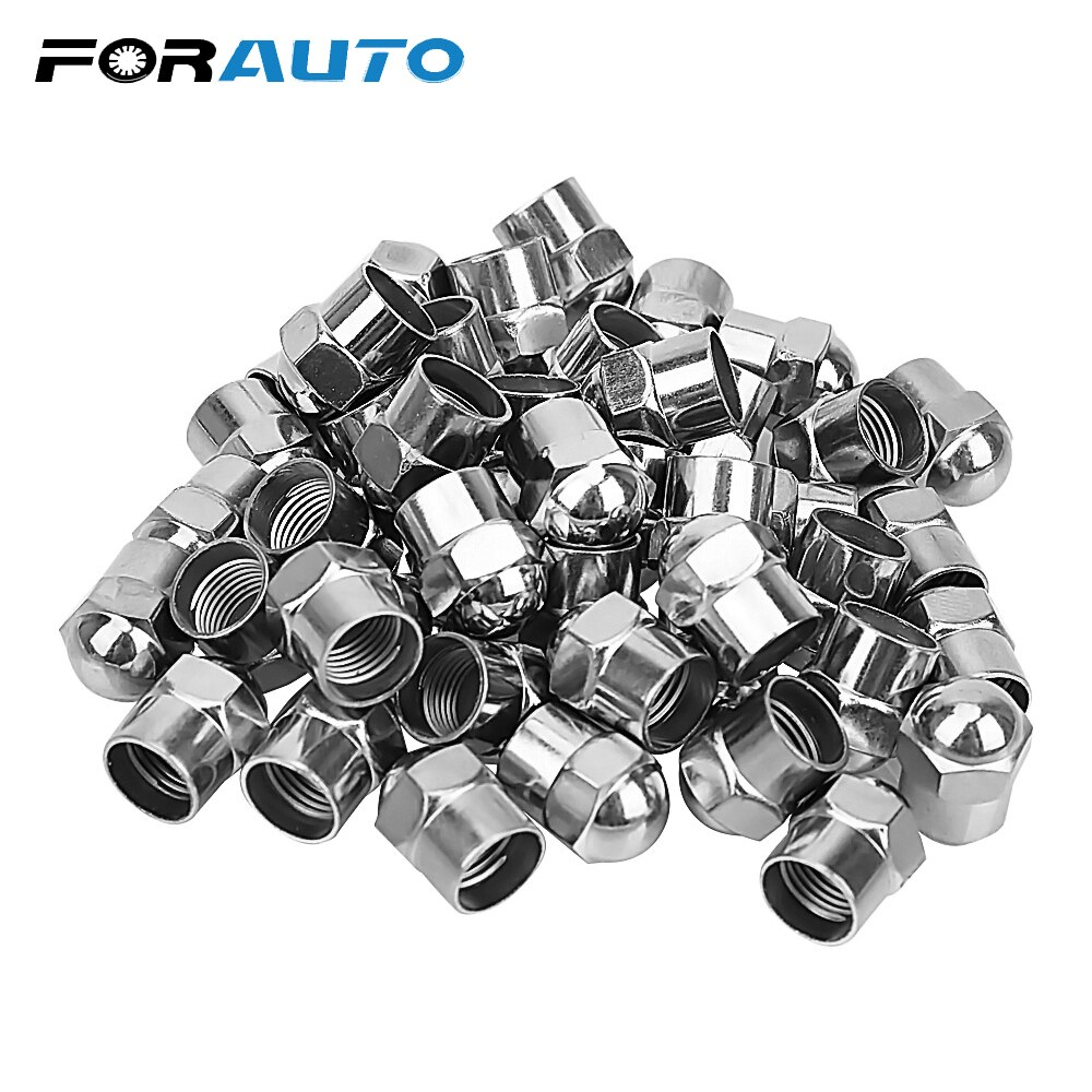 100 Uds tapas de presión de aire de neumáticos de coche vástago de válvula de neumático de coche tapa de plástico cromado accesorios de neumáticos cubierta hermética Universal