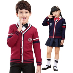 Children Sweaters V-neck Wool Sweater Preppy Style For Children Knitwear For Teenager Warm Clothing