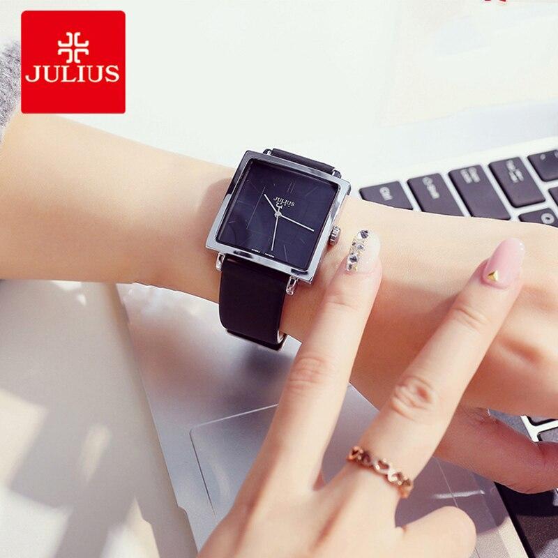 ساعات يد نسائية ماركة جوليوس ساعة كوارتز نسائية كبيرة مربعة الشكل باللون الذهبي سوار للأعمال من الجلد ساعة يد نسائية