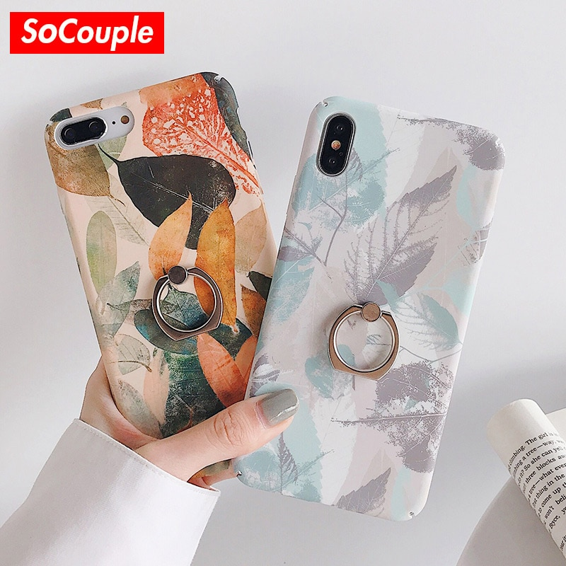 SoCouple кольцо сцепление чехол для iphone 11 Pro Max чехол для iphone SE XR Xs max 7 8 6 6s plus растения лист шаблон держатель телефона крышка