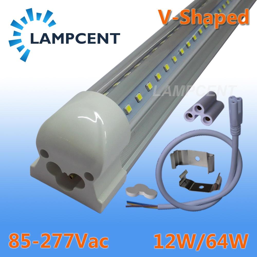 10-100/paquete luces de tubo LED en forma de V 270 ángulo de 2ft 3ft 4ft 5ft 6ft 8ft Bar T8 bombillas integradas accesorio conectable Super brillante