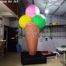Beau cône gonflable de crème glacée, crème glacée gonflable de publicité, modèle géant gonflable de glace-sucette avec le logo libre sur la base