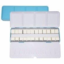 Watercolor Paints Palette Pigment Palett Blue Tins Box with 14 Pcs Full Pans and 24 Half Pans For Art Painting Palette Supplies