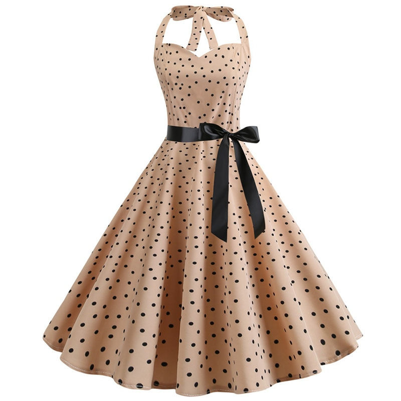 Summer Dress 2019 Vintage Rockabilly Party Dress 50s 60s Retro Big Swing Polka Dot Pinup Women Audrey Hepburn Dress Vestidos